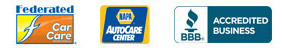 Logos for Federated Car Care, NAPA AutoCare Center, and BBB Accredited Business